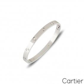 Cartier White Gold Half Diamond Love Bracelet Size 16 B6035816